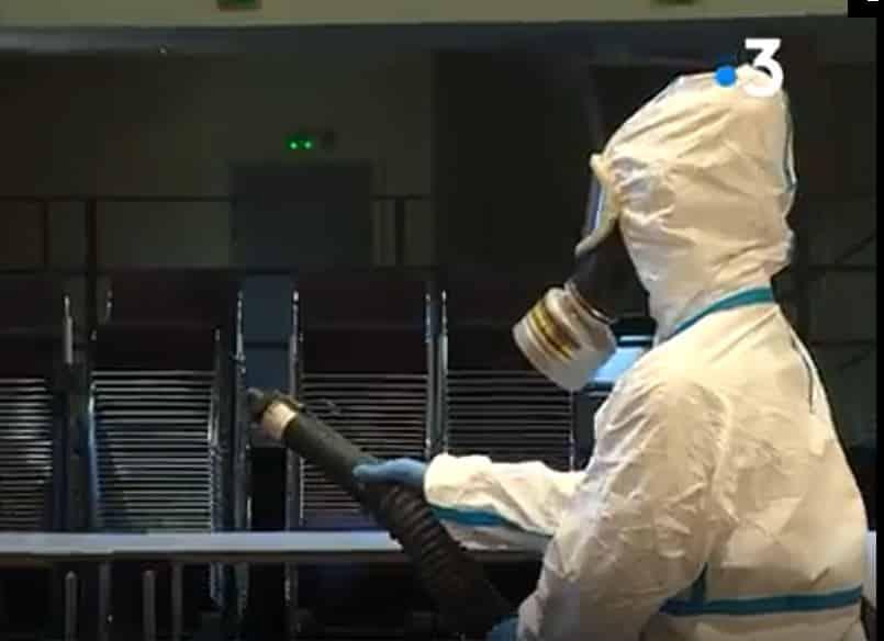 Désinfection comme lutte contre le Coronavirus: Reportage France 3